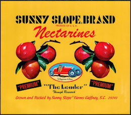 #ZLC447 - Sunny Slope Brand Nectarine Crate Label - Soap Box Derby Car