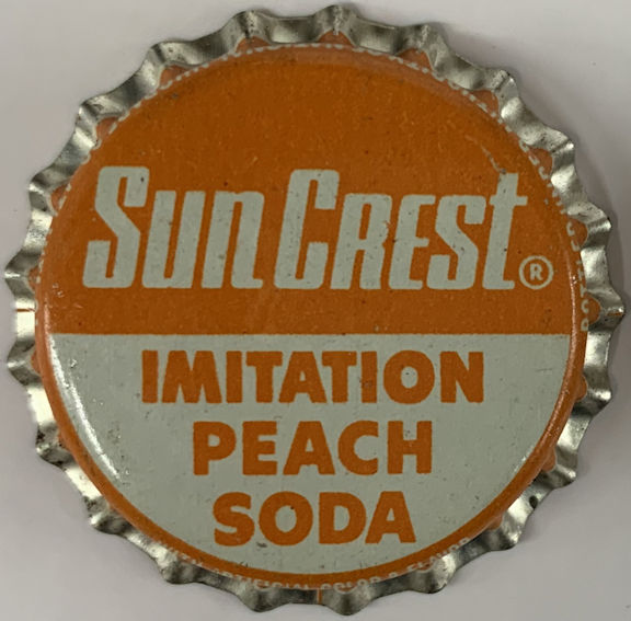 #BC217 - Group of 10 SunCrest Cork Lined Peach Soda Bottle Caps