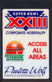 #BA725 - 1989 Oversized OTTO Super Bowl XXIII All Access Laminated Backstage Pass - Billy Joel
