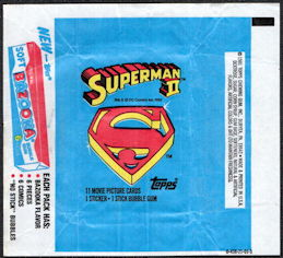 #ZZA268 - Group of 4 Waxed Card Pack Wrappers for the Superman II Movie