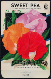 #CE033 - Brilliantly Colored Cuthbertson Finest Mix Sweet Pea Lone Star 10¢ Seed Pack - As Low As 50¢ each