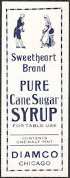 #ZBOT209 - Sweetheart Brand Cane Sugar Syrup Bottle Label - Pictures Colonial People