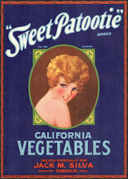 #ZLC455 - Early Large Version Sweet Patootie Pinup Crate Label