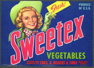 #ZLC244 - Sweetex Citrus Crate Label Picturing Cowgirl