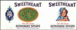 #ZLCA287 - Rare Sweetheart Asparagus Can Label - Girl and Doll