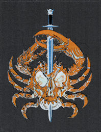 ##MUSICBP2047 - Grateful Dead Car Window Tour Sticker/Decal - Pictures a Crab with a Skull Body Pierced by a Sword