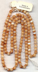 #BEADS0709 - Strand of about 136 6mm Tan and White Round Glass Beads