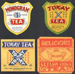#ZBOT428 - Group of 4 Different New Orleans Tea Box Labels
