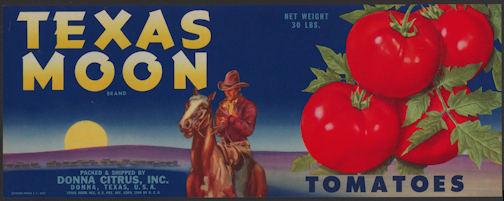 #ZLCA*040 - Texas Moon Tomatoes Crate Label - Cowboy