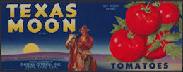 #ZLCA*040 - Texas Moon Tomatoes Crate Label - Cowboy