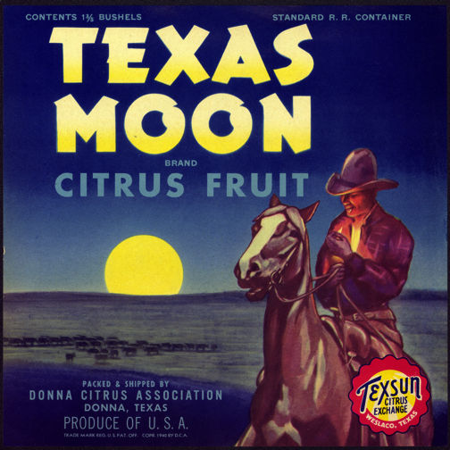 #ZLC261 - Texas Moon Citrus Fruit Crate Label Picturing a Cowboy on a Horse