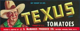 #ZLCA*063 - Texus Tomatoes Crate Label - Cowboy