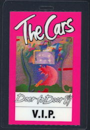 ##MUSICBP0354  - The Cars 1987 Door to Door Tour Laminated Backstage Pass - Pink V.I.P. Version