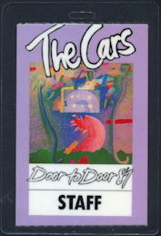 ##MUSICBP0350  - The Cars 1987 Door to Door Tour Laminated Backstage Pass - Purple
