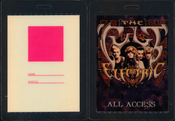 ##MUSICBP0438  - 1987 The Cult All Access Laminated OTTO Backstage Pass from the Electric Tour