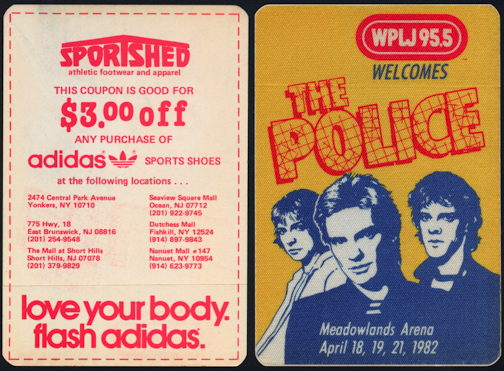##MUSICBP0099  - 1982 The Police at Meadowlands Arena OTTO Backstage Pass - As low as $2 each