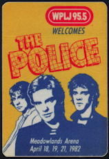 ##MUSICBP0099  - 1982 The Police at Meadowlands Arena OTTO Cloth Backstage Pass - WPLJ Radio Pass