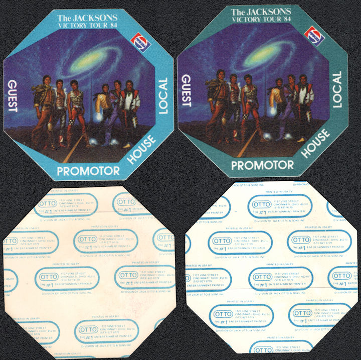 ##MUSICBP0110 - Pair of Different Colored The Jacksons (Michael Jackson) Cloth  OTTO Backstage Passes from the 1984 Victory Tour