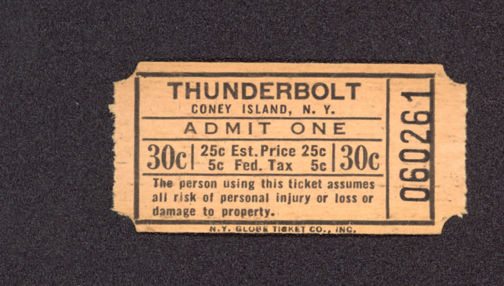 #MS252 Unused Coney Island Ticket for the Thunderbolt Wooden Roller Coaster