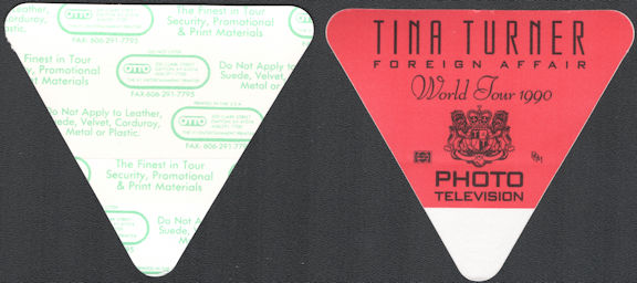 ##MUSICBP0729 - Rare Tina Turner OTTO Cloth Backstage Photo Pass from the 1990 Foreign Affair Tour