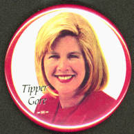 #PL277 - Uncommon Tipper Gore Pinback from the 2000 Presidential Election