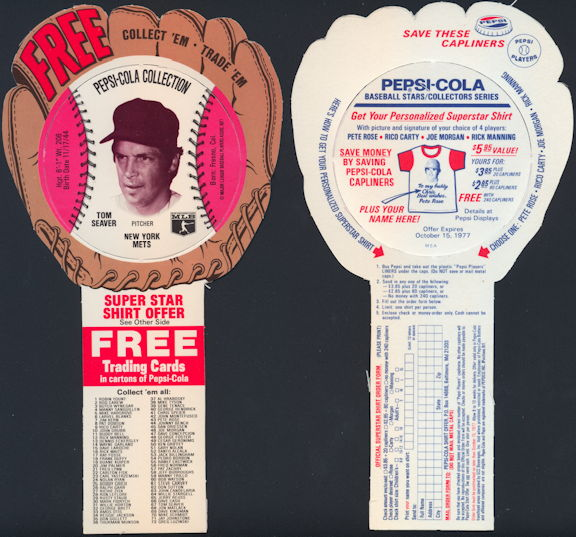 #BA130 - 1977 Pepsi Glove Disc Carton Insert Featuring Hall of Famer Tom Seaver