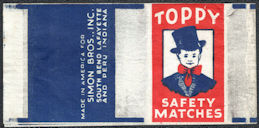 #ZZZ188  - Group of 3 Toppy Safety Match Box Wrappers - Boy in Tophat