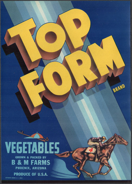 #ZLSH204 - Group of 12 Top Form Vegetables Crate Labels - Pictures Race Horse and Jockey