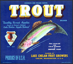 #ZLSH005 - Group of 12 Trout Brand Apple Crate Labels