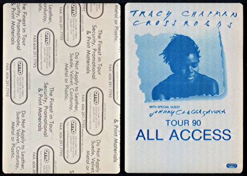 ##MUSICBP0293 - Tracy Chapman OTTO Cloth Backstage Pass from 1990 Crossroads Tour