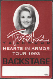 ##MUSICBP0728 - Tricia Yearwood OTTO Cloth Backstage Pass from the 1993 Hearts In Armor Tour