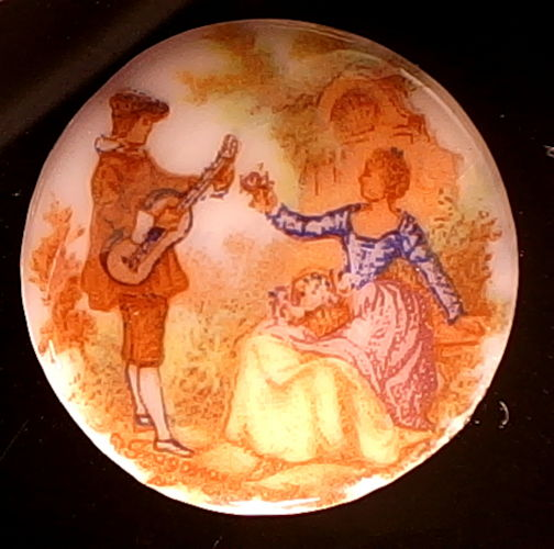 #BEADS0741 - West German Glass Cameo with Troubadour and Lady - As low as $1 each