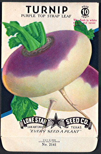 #CE082 - Brilliantly Colored Purple Top Turnip Lone Star 10¢ Seed Pack - As Low As 50¢ each