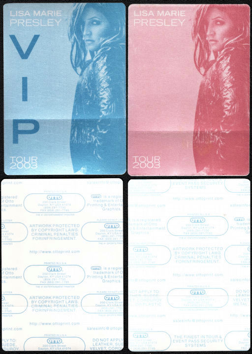 ##MUSICBP0772  - Pair of Two Different Colored Scarce Lisa Marie Presley Cloth OTTO Backstage Passes from the 2003 Tour