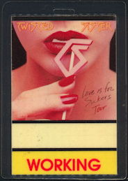 ##MUSICBP0446 - 1987 Twisted Sister Laminated OTTO Cloth All Area Access Backstage Pass from the Love is for Suckers Tour