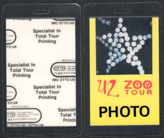 ##MUSICBP0595  - 1992 U2 OTTO Laminated Photo Backstage Pass From the ZOO TV Tour