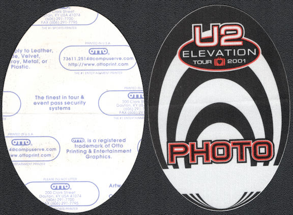##MUSICBP0644 - U2 OTTO Cloth Backstage Pass from the 2001 Elevation Tour