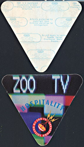 ##MUSICBP0326 - U2 OTTO Cloth Backstage Pass from the 1992 Zoo TV Tour