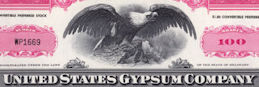 #ZZCE052 - United State Gypsum Stock Certificate