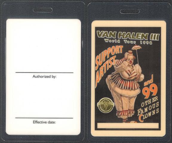 ##MUSICBP0808 - Scarce Van Halen OTTO Laminated Support Artist Backstage Pass from the 1998 Van Halen III World Tour