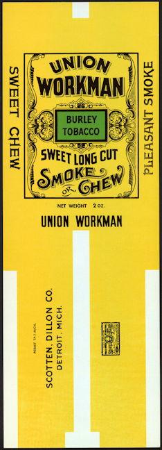 #ZLT041 - Scotten, Dillon Tobacco Union Workman Tobacco Pack Label