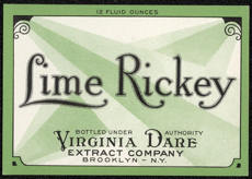 #ZLS134 - Deco Design Virginia Dare Lime Rickey Soda Bottle Label