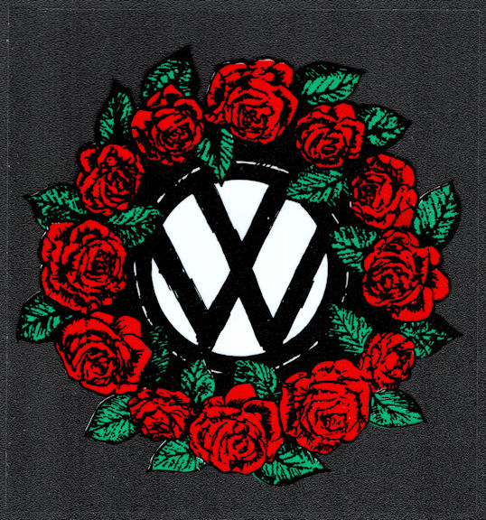 ##MUSICBP2028 - Grateful Dead Car Window Tour Sticker/Decal - Rose Wreath Surrounding the VW (Volkswagen) symbol