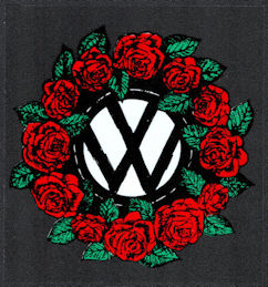 ##MUSICBP2028 - Grateful Dead Car Window Tour Sticker/Decal - Rose Wreath Surrounding the VW (Volkswagen) symbol