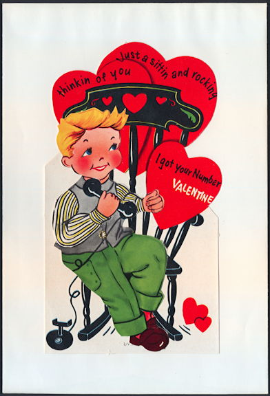 #HH201 - Large Diecut Mechanical Valentine with Old Time Boy in Rocking Chair - Original Envelope