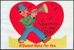 #HH202 - Large Diecut Standup Glitter Valentine with Bugle Boy - Original Envelope