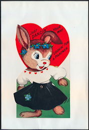 #HH211 - Large Diecut Mechanical Valentine with Dancing Rabbit - Original Envelope