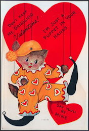 #HH200 - Huge Diecut Mechanical Valentine with Cat that is a Jester Puppet - Original Envelope