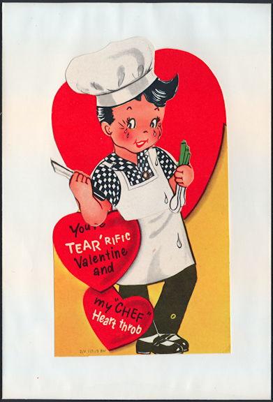#HH212 - Large Diecut Mechanical Valentine with Boy Chef - Original Envelope