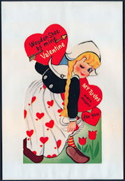 #HH206 - Large Diecut Mechanical Valentine with Dutch Girl - Original Envelope